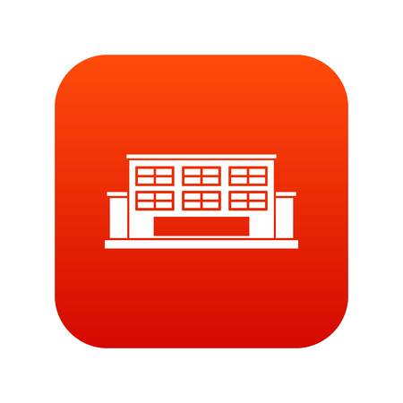 Industrial building icon digital red