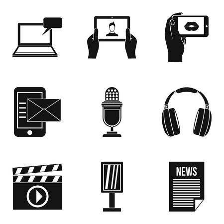 Media thing icons set, simple style