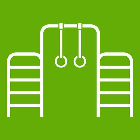 Horizontal bar with climbing rings and ladder icon green Ilustração