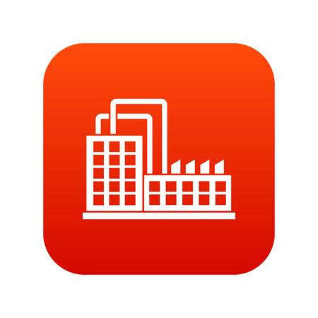 Factory building icon digital red for any design isolated on white vector illustration