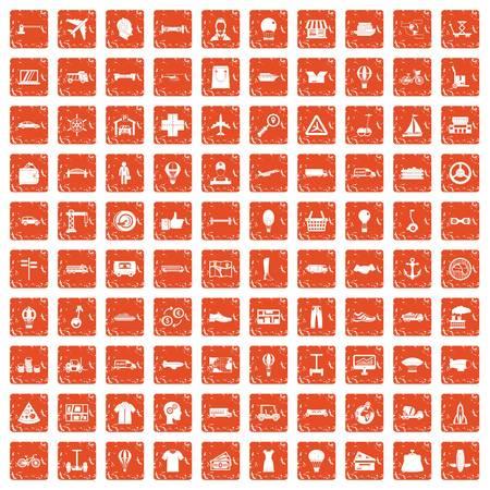 100 logistics icons set in grunge style orange color isolated on white background vector illustration