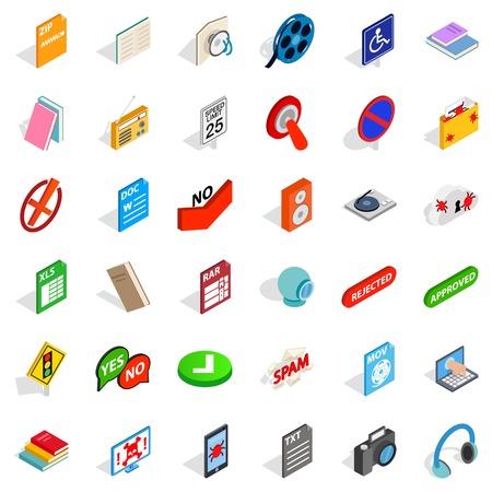 Data transfer icons set, isometric style Çizim