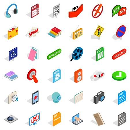 Data transmission icons set. Isometric set of 36 data transmission vector icons for web isolated on white background