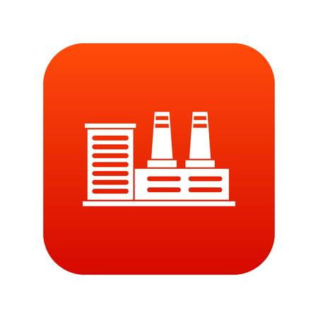 Power plant icon digital red for any design isolated on white vector illustration Illustration