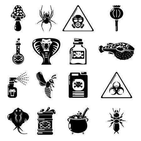 Poison danger toxic icons set. Simple illustration of 16 poison danger toxic vector icons for web