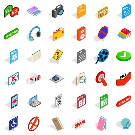 Information transfer icons set, isometric style Çizim