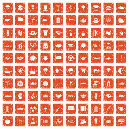100 lotus icons set in grunge style orange color isolated on white background vector illustration