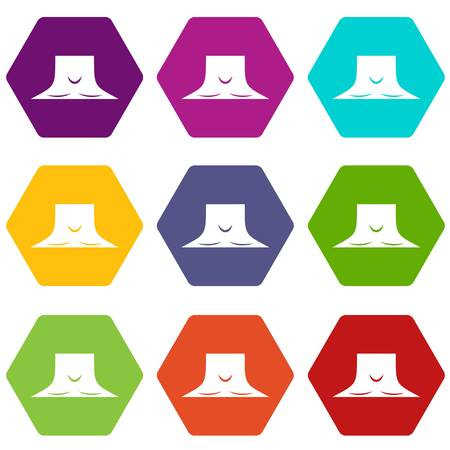 Human neck icon set many color hexahedron isolated on white vector illustration