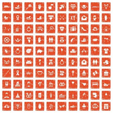 100 love icons set in grunge style orange color isolated on white background vector illustration Illustration