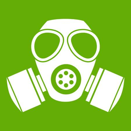 Chemical gas mask icon white isolated on green background. Vector illustration Illustration