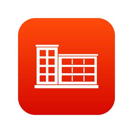Industrial factory building icon digital red for any design isolated on white vector illustration Illustration