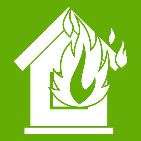 Preventing fire icon white isolated on green background. Vector illustration