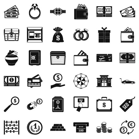 Sum of money icons set. Simple set of 36 sum of money vector icons for web isolated on white background