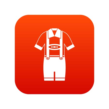 T-shirt and pants with suspenders icon digital red for any design isolated on white vector illustration