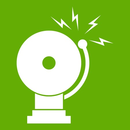 Fire alarm icon white isolated on green background. Vector illustration Illustration