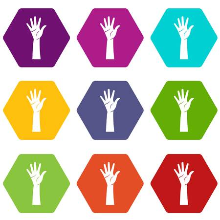 Hand icon set many color hexahedron isolated on white vector illustration Illustration