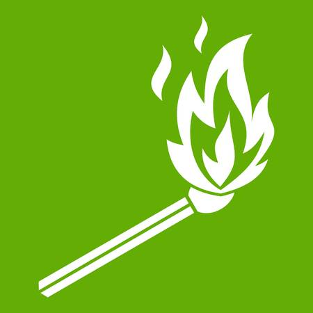 Match flame icon white isolated on green background. Vector illustration