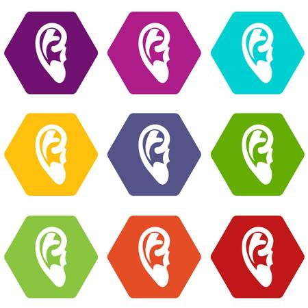 Ear icon set many color hexahedron isolated on white vector illustration Vettoriali