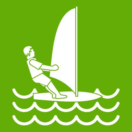 Man on windsurf icon white isolated on green background. Vector illustration Illustration