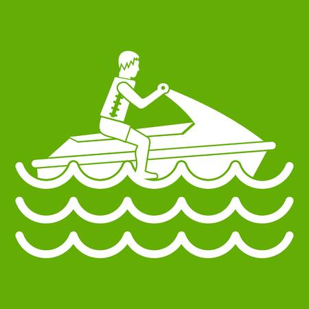 Man on jet ski rides icon white isolated on green background. Vector illustration