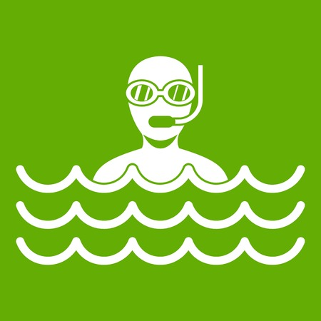 Man with scuba icon white isolated on green background. Vector illustration