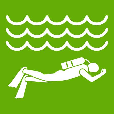 Scuba diver man in diving suit icon white isolated on green background. Vector illustration