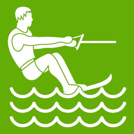 Water skiing man icon white isolated on green background. Vector illustration