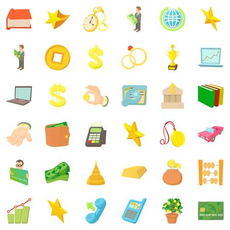 Lucre icons set. Cartoon set of 36 lucre vector icons for web isolated on white background