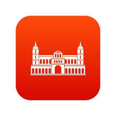 Castle icon digital red for any design isolated on white vector illustration Illustration
