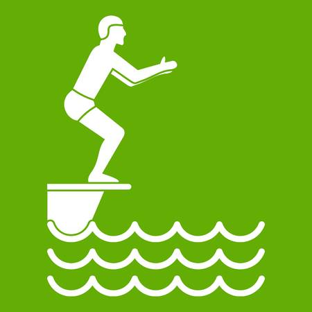 Man standing on springboard icon white isolated on green background. Vector illustration