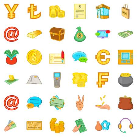Material assets icons set. Cartoon set of 36 material assets vector icons for web isolated on white background Illustration