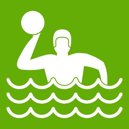 Water polo icon white isolated on green background. Vector illustration Illustration