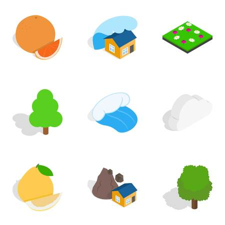 Necessarily icons set. Isometric set of 9 necessarily vector icons for web isolated on white background