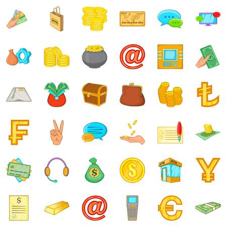 Tangible asset icons set. Cartoon set of 36 tangible asset vector icons for web isolated on white background.