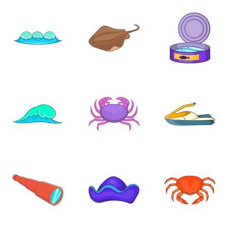 Nautical life icons set. Cartoon set of 9 nautical life vector icons for web isolated on white background Archivio Fotografico - 95033932