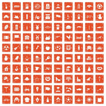100 mill icons set grunge orange background