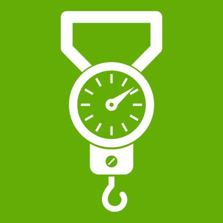 Spring scale icon white isolated on green background. Vector illustration Illustration