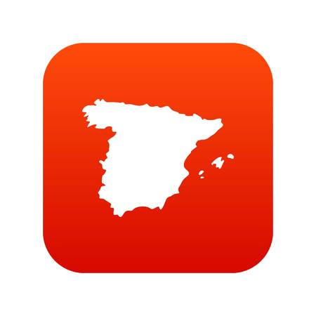 Map of Spain icon digital red background Illustration