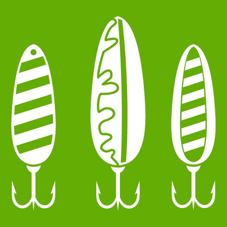Plastic fishing lure icons in white isolated on green background.