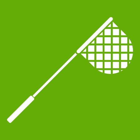 Fishing net icon white isolated on green background. Vector illustration