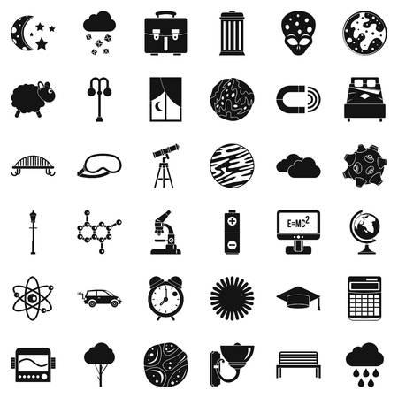Conjunto de iconos de espacio abierto, estilo simple Ilustración de vector