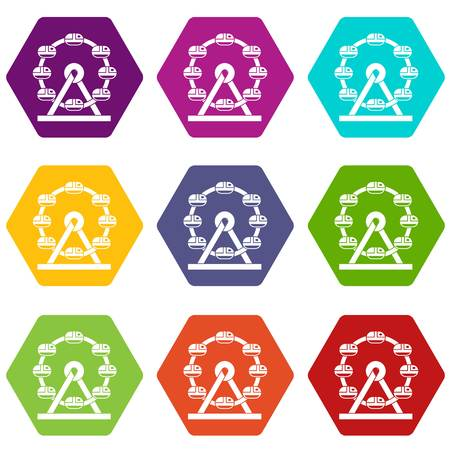 Ferris wheel icon set many color hexahedron isolated on white vector illustration.