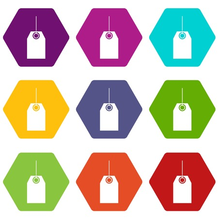 Black tag icon set many color hexahedron isolated on white vector illustration