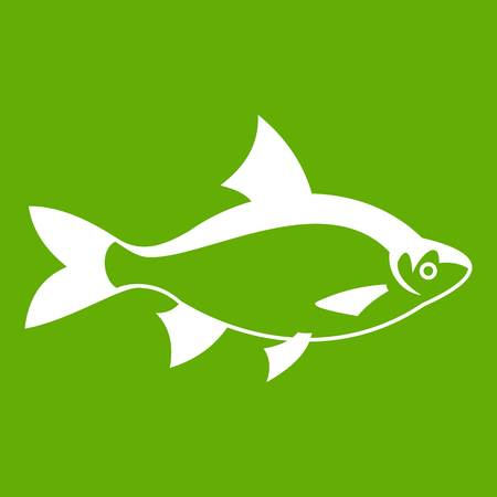 River fish icon white isolated on green background. Vector illustration