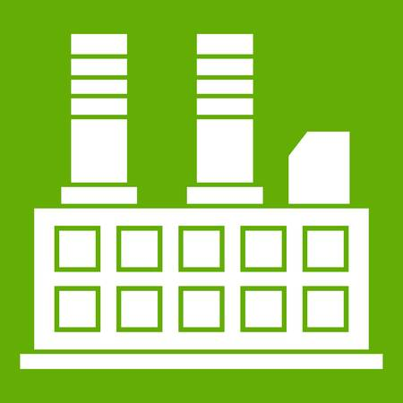 Factory building icon green background