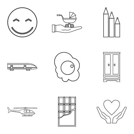 Infant school icons set. Outline set of infant school vector icons for web isolated on white background Illustration