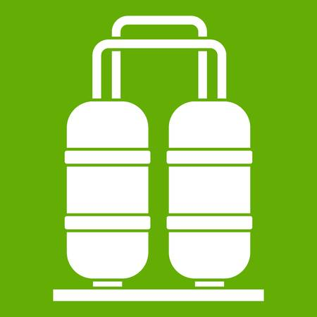 Oil refinery plant icon white isolated on green background. Vector illustration