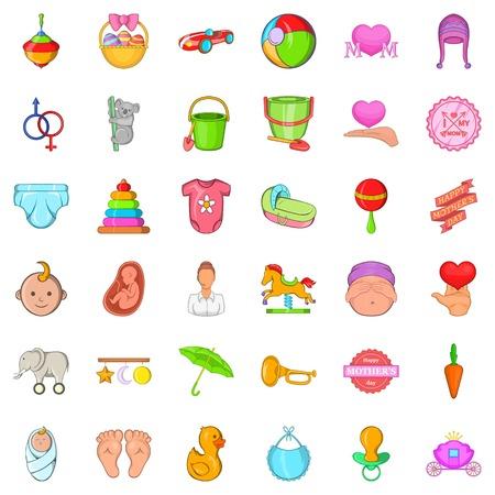 Mommy icons set, cartoon style Illustration