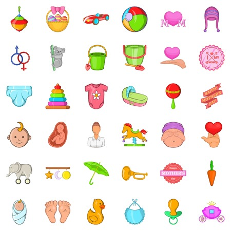 Mommy icons set, cartoon style Illustration