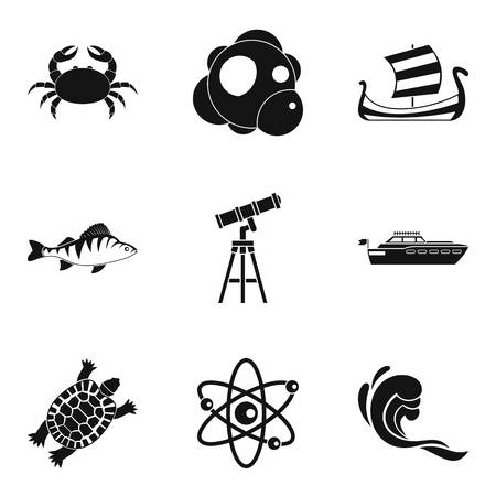 Oceanographic icons set. Simple set of 9 oceanographic vector icons for web isolated on white background Archivio Fotografico - 95037212